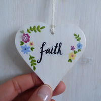 'Faith' Hand Painted Wooden Hanging Heart