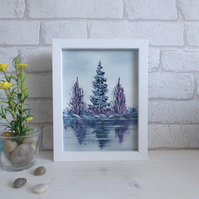 'Pink And Blue Tree's Reflections By The River' Original Oil Painting, Framed