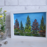 'Colourful Tree's By The River' Original Oil Painting, Framed