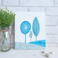 'Hills and Tree's' Original Art, Colourful Teal Decorative Wall Art