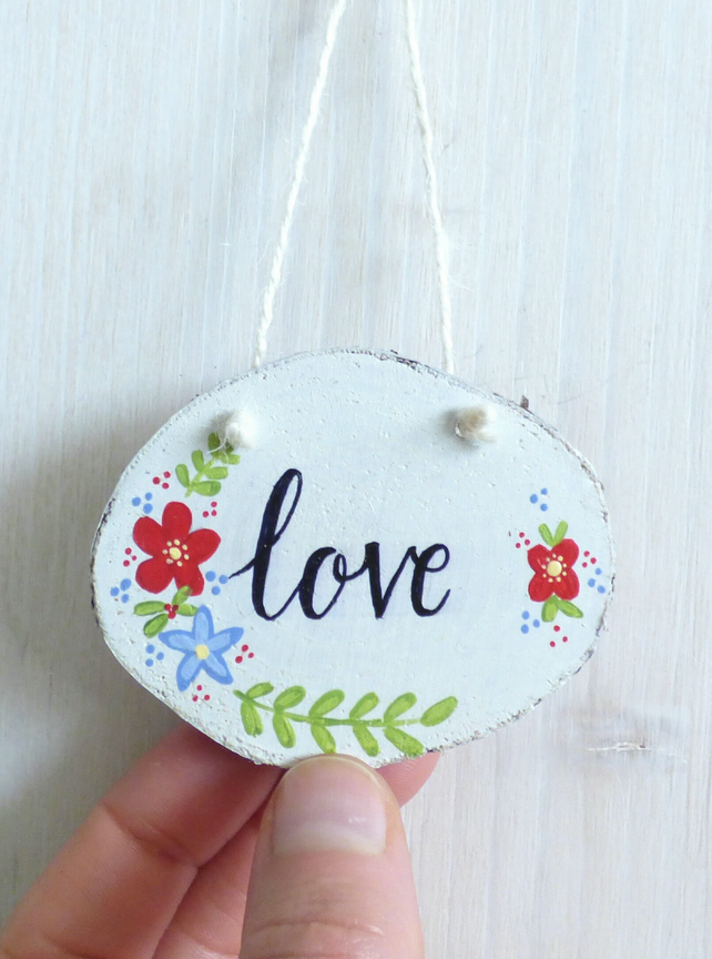 'Love' Wood Slice, Hand Painted Hanging Decoration