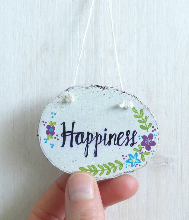 'Happiness' Wood Slice, Hand Painted Hanging Decoration