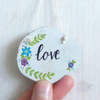 'Love' Natural Wood Slice, Hand Painted Hanging Decoration