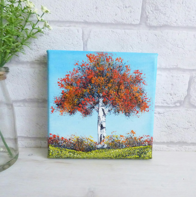 Original Oil Painting 'Red Tree and Blue Sky'
