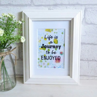 'Life is a Journey to be Enjoyed' Marble Typography Art Print Quote, Unframed