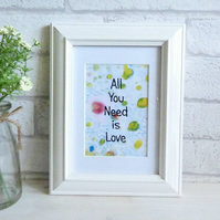 'All You Need is Love' Marble Typography Art Print Quote, Unframed