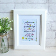'Serenity Prayer' Inspirational Marble Typography Art Print, Unframed (b)