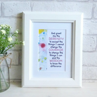 'Serenity Prayer' Inspirational Marble Typography Art Print, Unframed (a)