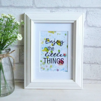 'Enjoy the Little Things' Marble Typography Art Print Quote, Unframed