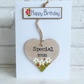 'Happy Birthday', Special Mum, Detachable keepsake Heart, Greeting Card