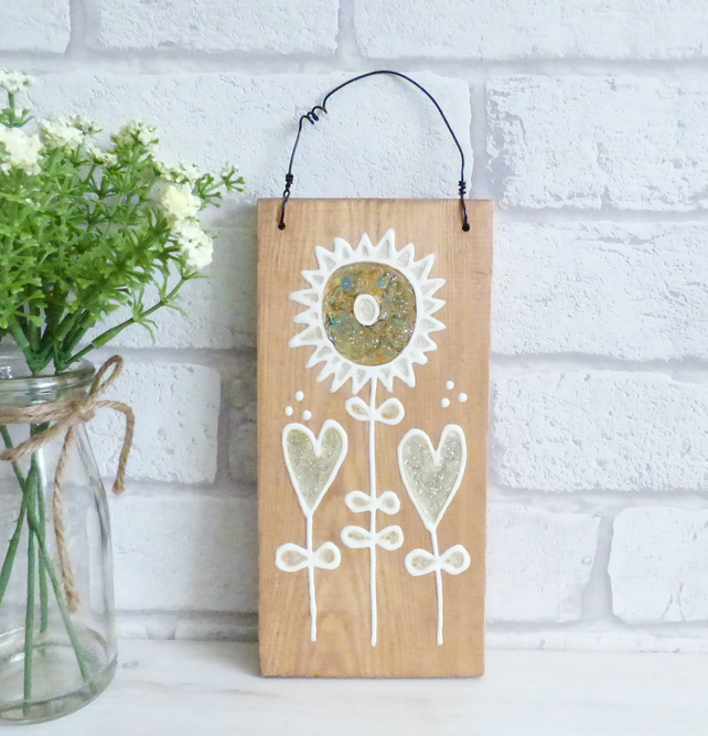Original Art Wall Hanging Love Hearts Wedding, Anniversary, Love Gift Plaque