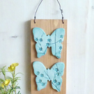 'Butterfly' Flowers And Branches Clay, Hanging Wall Plaque