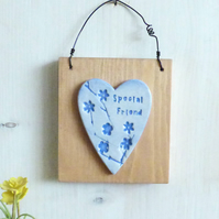 'Special Friend'' Flowers And Branches Clay Heart, Hanging Wall Plaque