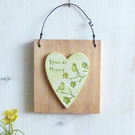 'Special Friend'' Birds And Flowers, Clay Heart, Hanging Wall Plaque