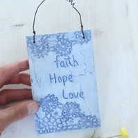 'Faith, Hope, Love' Blue, Lace, Textured, Hanging Plaque