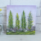 Green Tree's And Purple Shrubs, Original Oil Painting On Canvas