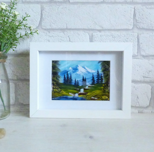 Peaceful Mountain Stream, Mini Landscape, Art Print 7x5 inch, Unframed