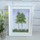 Original Oil Painting, Two Tree's, Framed