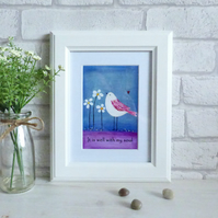 Art Print Quote, Acrylic Bird Painting, It Is Well With My Soul, Blue & Purple
