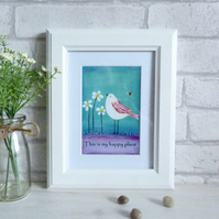 Art Print Quote, Acrylic Bird Painting, This Is My Happy Place, Teal & Purple