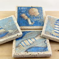 Set of 4 Marble Seaside Coasters