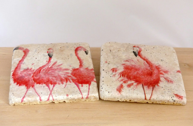 Natural Stone Flamingo Coasters