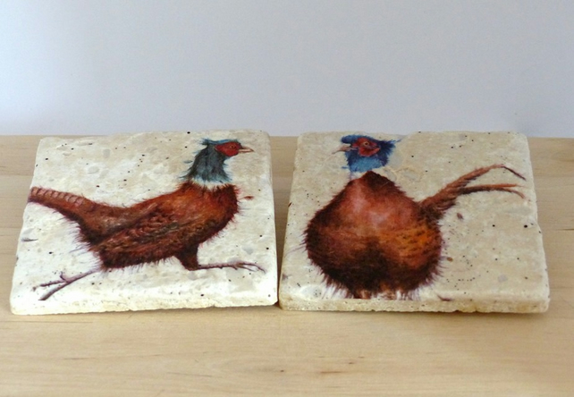Natural Stone 'Pheasant' Coasters