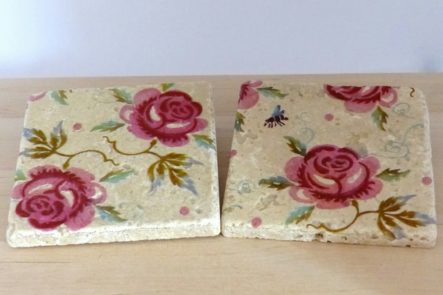 Marble Rose Coasters