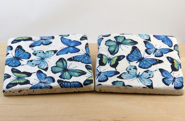 Natural Stone 'Butterfly' Coasters