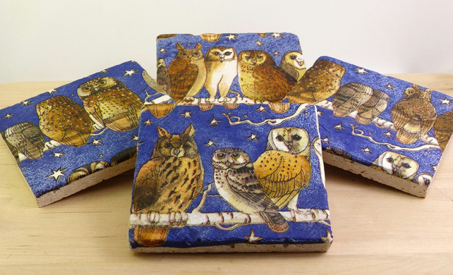 Set of 4 Natural Stone 'Night Owl' Coasters