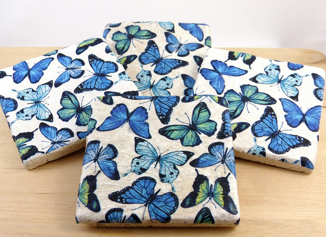 Set of 4 Natural Stone 'Butterfly' Coasters