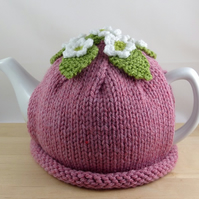 Hand Knitted 'Strawberry Blossom' Tea Cosy