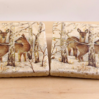 Marble 'Forest Deer' Coasters