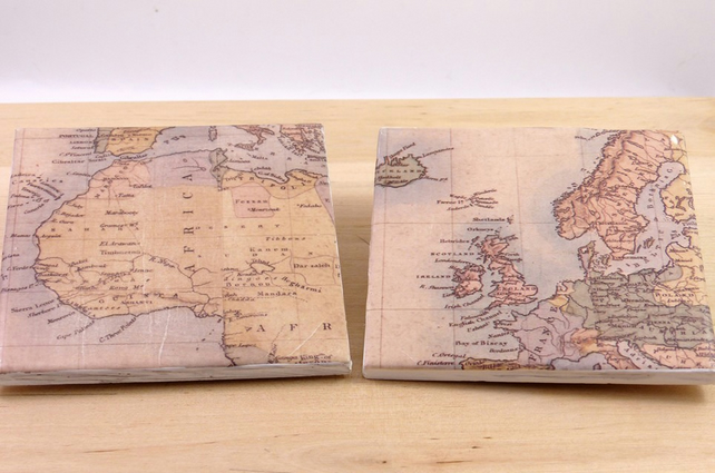 Ceramic 'Vintage Maps' Coasters