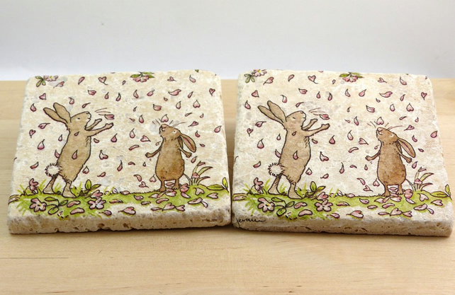 Natural Stone 'Rabbit' Coasters