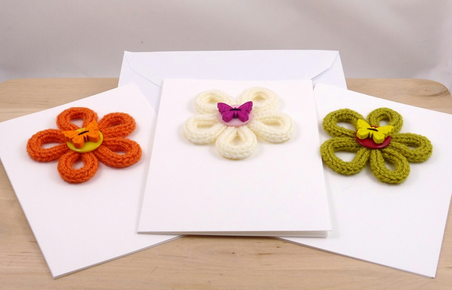 Set of 3 Knitted Flower Cards