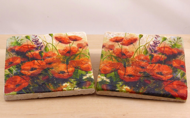 Natural Stone 'Poppy' Coasters