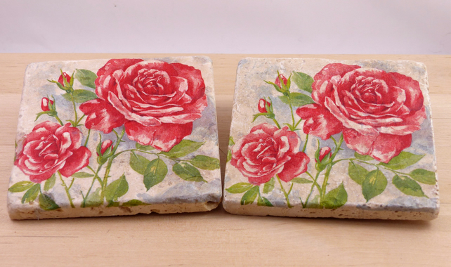 Natural Stone 'Rose' Coasters