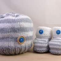 Hand Knitted Hat & Booties