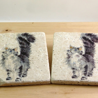 Natural Stone 'Cat' Coasters