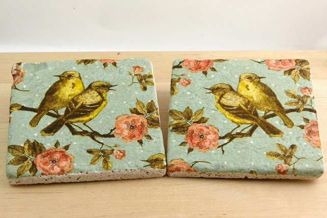 Natural Stone 'Vintage' Birds Coaster