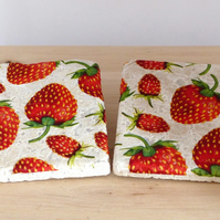 Natural Stone 'Strawberry' Coasters