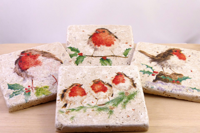 Natural Stone 'Robins' Coasters