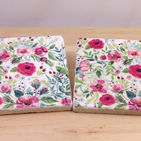 Marble 'Pink Floral' Coasters