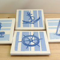 Set of 4 Ceramic 'Nautical' Coasters