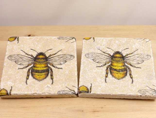 Natural Stone 'Bee' Coaters