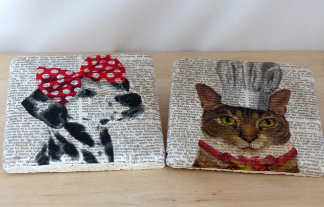 Marble 'Cat & Dog' Coasters