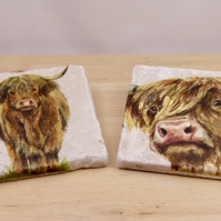 Marble 'Highland Cow' Coasters