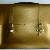 SALE! SALE! Gold Leather Riviera Satchel Vintage Style