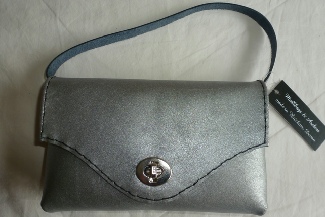 SALE! SALE! Silver grey leather clutch with a small handle